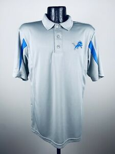 Men's Majestic Cool Base Detroit Lions Gray Polyester Short-Sleeve Polo NWT L
