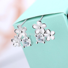 Womens Silver Plated Small Flower Crystal Rhinestone Ear Stud Earrings Jewelry c