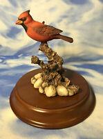 HTF Second Nature Design Wildlife Red Cardinal Bird Figurine Branch w/ BASE GUC