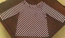 Adorable Pink/Black Striped Top With Bow Size S