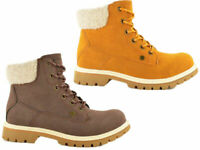 Ladies Flat Ankle Boots Lace Up Fleece Collar Grip Sole Hiking Style Winter Boot