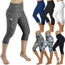 Womens High Waist Yoga Pants Pockets Capri Leggings Cropped Workout Gym Trousers