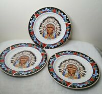 """Lot of 3 Tienshan Stoneware Dinner Plates Indian Chief  Pattern 10.75"""" Mountain"""