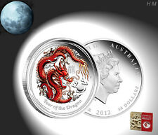 Lunar Silver Coin Dragon 1/2oz 0,5$ Australia color PROOF + COA Box never opened