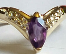 14k Yellow Gold 8x4 Marquise Amethyst 6 Diamond .12 Carat V Shape Band Ring 2.6g