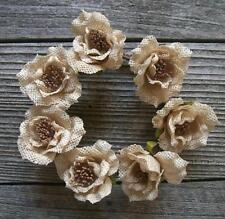 """4"""" Cream Burlap Rose Candle Ring"""