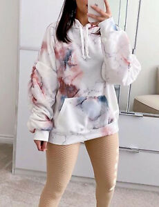 Women's Ladies Tie Dye Marble Ruched Sleeve Hooded Sweatshirt Hoodie Jumper New