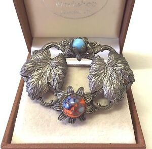 Vintage Jewellery Lovely 1930's  Tourquise  And Agate Leaf Brooch Pin