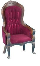 Dollhouse Miniatures 1:12 Scale Victorian Gent's Chair, Walnut W/Red #CLA10968