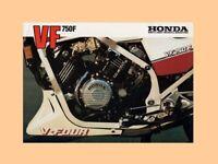 HONDA VF750R RC30 VINTAGE MOTORCYCLE MOTORBIKE POSTER BROCHURE ADVERT A3