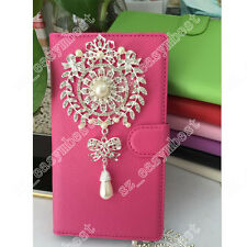 Bling Big Silver Flower Crystal Diamond Wallet Case Cover Fit Skin For Phones