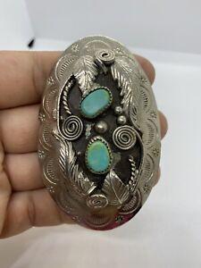 Vintage Silver tone Turquoise Bolo Pendant Tie Southwest