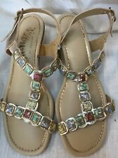 Vtg 60s Signals by Beacon Womens 7.5 Gemstone T Strap Gold Gladiator Sandals New