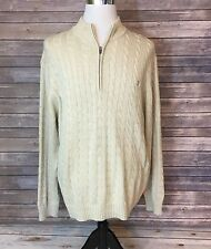 IZOD Sweater Mens XL Beige Cable Knit 1/4 Zip Cotton Long Sleeve