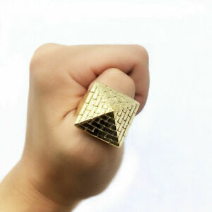 Gold Plated Pyramid Ring Heavy 14K Polished Unisex Cowboy Excellent Cut Solid