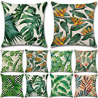 Tropical Green Plant Leaves Flower Linen Cushion Cover Pillow Case Decorative