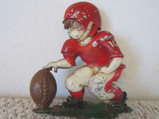 "Vintage Football Metal Football Player, Wall Decor Plaque by ""Sexton"" 1970"