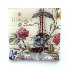 Glass Tray - Square, Eiffel Tower, Floral & Script  Design on Off-White Bkground