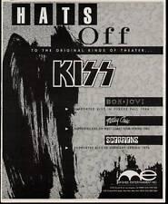 1989 HATS OFF TO KISS,  BON JOVI MOTLEY CRUE McGHEE AD