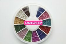 Carrousel 12 couleurs micro mini perle nail art manucure strass ball pearl bead