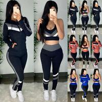 3Pcs Women Tracksuit Hoodie Top Vest Pants Set Lounge Wear Gym Sport Casual Suit