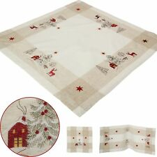 Christmas Table Runners Placemats Tablecloths Red Reindeer Embroidery Beige