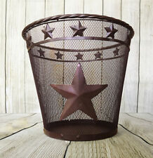 Rustic Metal Wire Star Mesh Waste Basket - Western, Country, Star Trash Can -NEW