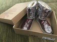 Authentic NEW UGG Women's Boots Classic Short Sparkle Red/Green/Silver Sequins 8