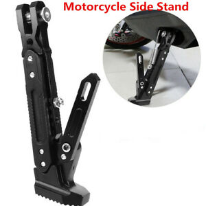 Motorcycle Height Adjustable Tripod Protect Foot Kick Stand Side Stand W/Spring