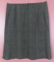 SK16242- TALBOTS Women's 100% Silk Pencil Skirt Black Brown Herringbone 16P MINT