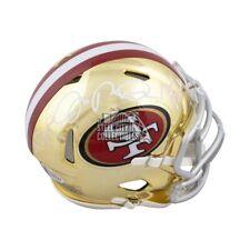 Rice Montana Young Autographed 49ers Chrome Mini Football Helmet - BAS LOA