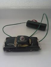 "1950s 1960s Line Mar Toys 7"" Green Police Battery Operated Cable Tin Toy Car DNR"