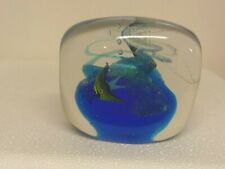 "Clear glass Paperweight Blue ocean with swirling bubbles and fish 2 5/8"" x 3.5&