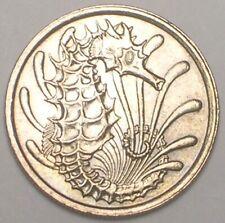 1976 Singapore Singaporean 10 Cents Seahorse Coin XF+