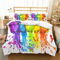 3D Watercolor Parrot Duvet Cover Bedding Comforter Cover Pillow Case Queen/King