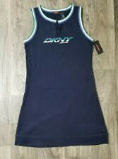 Womens DKNY Active Wear Shirt Dress Blue Green White Size Large