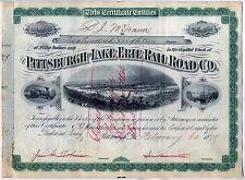 1879 Pittsburgh & Lake Erie Railroad Stock Certificate Pennsylvania