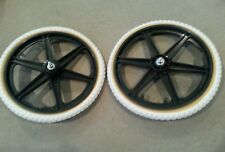 "NEW 20"" MAG WHEELS 6 SPOKE WHITE TIRES TUBES FOR GT DYNO HARO OR BMX BICYCLES"
