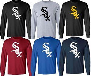 Chicago White Sox MLB LOGO Black UNISEX Multi Color Long Sleeve T-Shirt - S-3XL