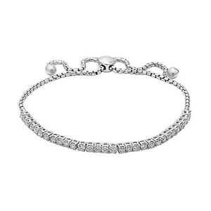 Sterling Silver Bolo Bracelet 1.50 Ct. T.W. Lab Grown Diamond Adjustable