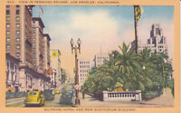 Linen Postcard ca1940s A342 View in Pershing Square Los Angeles Calif Old Cars