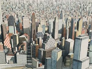 "James Sundquist ""Lower Manhattan"" Lithograph 1996 with Twin Towers NYC"