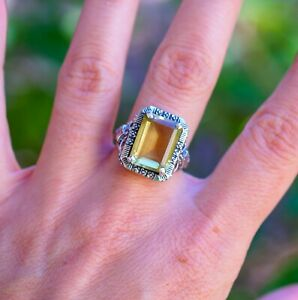 Stunning Fancy Citrine 925 Sterling Silver Ring size 7 by Silver Trend