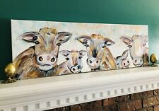Original PAINTING Large Cow Pig PALETTE KNIFE Home Decor Farmhouse Animal Art