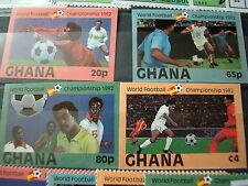 FUSSBALL WM Weltmeisterschaft SPANIEN 1982 4 W. ungezähnt B GHANA Goldaufdruck