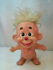 "VTG 8"" RARE Troll Clown Doll BANK Blue gray Hair ROY DES of FLA 1969"