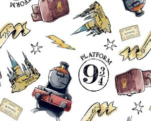 Cotton Fabric - HARRY POTTER PLATFORM 9 3/4s HOGWARTS - Craft Fabric Material