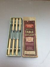"Vintage 6 faux bone handled Sheffield Stainless steel table knives 8"" long boxed"