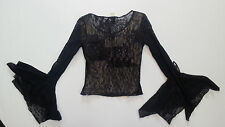 Vintage Black Goth Sheer Long Sleeves Lace Grunge Bell Sleeves 90's Festival S