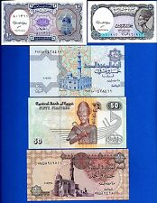 Egypt Five,Ten,Twenty-Five, 50 Piastres & 1 Pound Uncirculated Banknotes Set #1